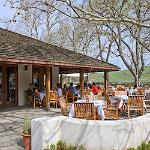 The patio is situated at the Golf Course 18th Green