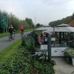 The bike path and the patio