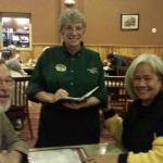Eric and Juanita dinning with their favorite server Linda