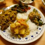 A mixture of curries on rice from Inder's kitchen