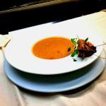 Süßkartoffel-Chili-Cremesuppe & Tiger-Garnele