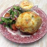 Stuffed Baked Potato, Loaded with Scallions, Sun-blushed Tomatoes and  Cheddar.