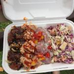 The three varieties Poke bowl- traditional, spicy, ceviche, with pineapple coleslaw. Yum!
