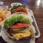 Great burger with all vegetables inside