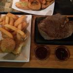 Beautiful rib eye steak and sides and cooked completely how you wanted it:)