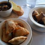 Meat pies, tamale bites (crab) & seafood gumbo.