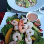 Prawn risotto and prawn salad