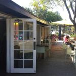 Comfortable outdoor seating, good ambience.  Not a franchise, friendly neighborhood service @ a