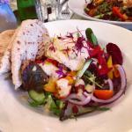 Tasty vegan salad at Riverside Café