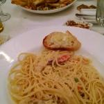 Scampi Linguini (foreground) and Burger (background)