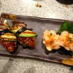 Scallop sushi and baked eel with avocado