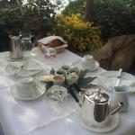"""Petit déjeuner bien garnis sur la terrasse de la chambre """"l'olivier"""" soleil et face a la mer"""