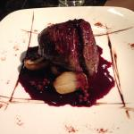 Venison steak with red wine reduction