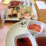 Veggie sharing platter! Mock prawn toast was fantastic!