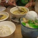 Our order- can;t go wrong with noodles soup, dimsims and halo halo