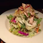 The grilled chicken salad was fresh and served with a very light and tangy champagne vinaigrette