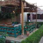 Vue du bungalow et du jardin privé.