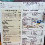 Cardápio em português