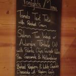 Evening meal menu
