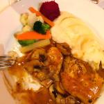 Pre cooked vegetables, gristly chicken and powdered mash.