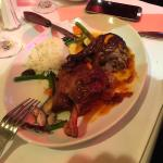 The duck was good but old dry rice pre cooked vegetables.