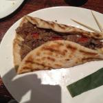 RIB EYE STEAK SANDWICH ON FLAT BREAD