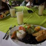 Breaded fish diner with Tico staples, rice, black beans, plantain, and salad.  Delicious!
