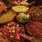 This platter of salsas from mild to HOT come with every meal & each are fabulous!! My hub & I fi