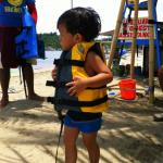 My son getting ready to kayak