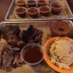 Pulled pork, free range chicken and burnt ends with spicy southwestern potato salad and cornbrea