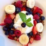 Fresh granola with berries and Greek yogurt