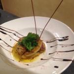 tatin aux pommes foie gras poelee ,reduction au cidre maison