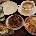 Part of our mezze - 1/2 orders of the feta/pepper dip, green bean dish and lentil soup