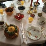 Breakfast table setting.