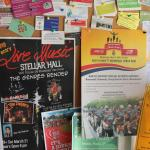 Community event info board at Cafe Hesed