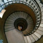 The spiral staircase, taken from 5th floor