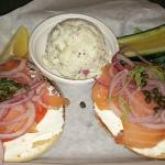 Bagel and lox, potato salad, pickle