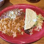 Beef taco, rice and bean meal.
