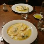 Freshly made ricotta and asparagus ravioli in a butter sauce with (an added extra) mozzarella.