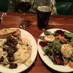 Criminis and cream, and the roasted beet and spinach salad. YUM!