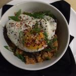 Korean Braised Beef on Kimchee rice with a Fried Egg