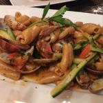Oatmeal pasta with clams