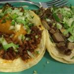 Taco of marinades pork and pineapple (al pastor) and beef tongue taco