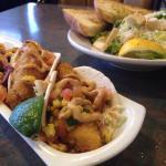Fish tacos and Caesar salad
