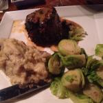 Filet with mashed potatoes and brussel sprouts - absolutely incredible!