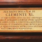 """il """"breve"""" del papa Clemente XI che scomunica chi ruba i libri"""