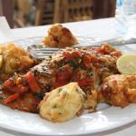 tasty fish with great sauce, and pakora cauliflower