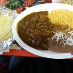 Mole de Pollo with rice, beans & corn tortillas