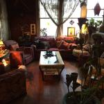 cozy lounge off main entrance - nice fireplace on a cold evening