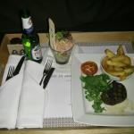 Room service dinner- £28 steak, plus starter and £5 room charge